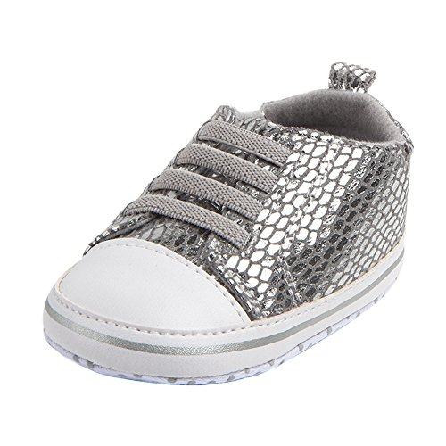 Annnowl Baby Crib Shoes Soft Sole First Walkers (12-18 Months, Silver)