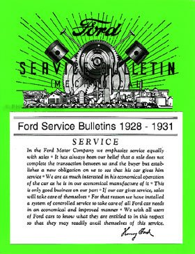 Ford Model A Service/Repair Bulletins Manual 1928-1931 Reprint Softcover ()