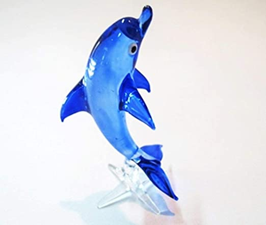 Craft Collectibl?e MINIATURE HAND BLOWN GLASS Blue Dolphin 01 FIGURINE Animals
