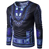 Mens Long Sleeve Casual Traditional African Clothing Dashiki Shirts Attire M Blue