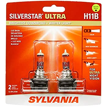 SYLVANIA - H11B SilverStar Ultra - High Performance Halogen Headlight Bulb, High Beam, Low Beam and Fog Replacement Bulb, Brightest Downroad with Whiter ...