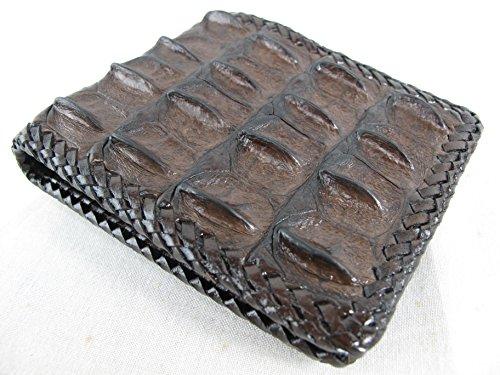 PELGIO Genuine Crocodile Alligator Backbone Skin Handmade Bifold Wallet (Chocolate Brown)