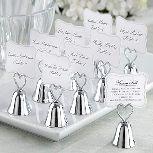 Miao Express (18pcs/lot) Kissing Bell Silver Bell Place Card Holder/Photo Holder Wedding Table Decoration Favors