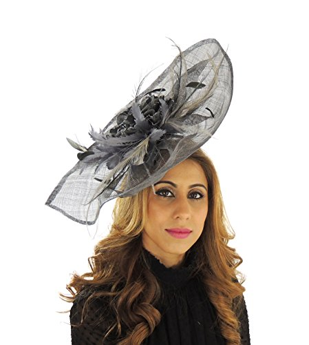 Hats By Cressida Gorgeous Ladies Ascot Kentucky Derby Wedding Fascinator Hat Dark Grey by Hats By Cressida