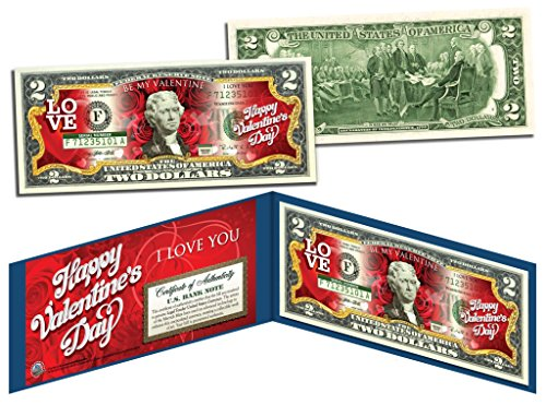 (HAPPY VALENTINE'S DAY Keepsake Gift Colorized $2 Bill US Legal Tender *Red Roses)
