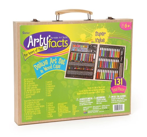 Darice (1103-10) 131-Piece Premium Art Set – Art Supplies for Drawing, Painting and More in a Wood Case – Makes a Great Gift for Children and Adults