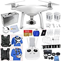 DJI Phantom 4 Adventure Bundle includes SanDisk 32GB Extreme microSD + Extra Battery + Extra Set of Propeller Blades & Prop Guards + Parallel Triple Charger + Car Charger + Easy Carry Vest & More!!!