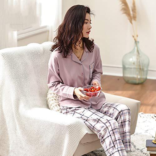 Del Sg Damas color Sección Pink Fuera Tela Delgada Domicilio Servicio Larga Traje Pink Se Algodón A Manga Puede Size Usar Escocesa Pijamas ZdRfqq