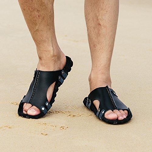 da Uomo Antiscivolo Sunny Estate Sandali Black Spiaggia per Pantofole g5ESRqS1