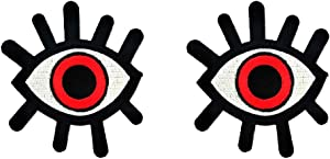 PP Patch Red Evil Eye Tattoo Wicca Occult Goth Punk Retro Cartoon Iron on Sew on Embroidered Jacket T-Shirt Backpacks Patch for Kids Childrens