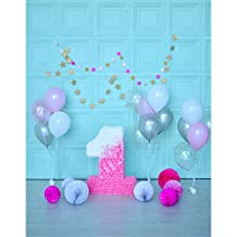 1st Birthday Party Vinyl Backdrops for Photography Digital Printed 5x7 Glitter Star Pink Flowers Candle Studio Backgrounds