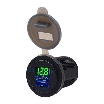 TurnRaise 12V Voltimetro Coche 2.1a USB Cargador Encendedor Enchufe para Moto Marina Barco (Verde)
