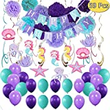Mermaid Birthday Party Supplies Decorations, Banners, Pom Poms, Hanging Swirls, Balloons for Under The Sea Theme Decor, Girl\s Birthday and Baby Shower