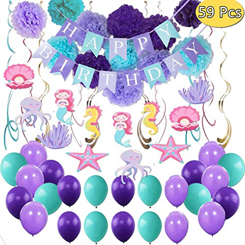 Mermaid Birthday Decorations (Mermaid Birthday Party Supplies Decorations, Banners, Pom Poms, Hanging Swirls, Balloons for Under The Sea Theme Decor, Girl's Birthday and Baby)