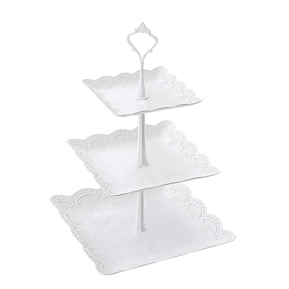 Cupcake Stand, Square 3 Tier Cupcake Display Stand Fruits Deserts Tray for Party Afternoon Tea PP Material by FUNZON FH003 (PP plastic)