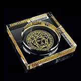 WHPHOME Heavy Crystal Ashtray - Square, Large Home Decor Office Cigar Ashtray (Size : L)