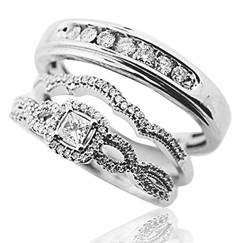 Princess Cut Diamond Bride and Grooms Wedding Ring Trio Set 10K White Gold(i2/i3, i/j