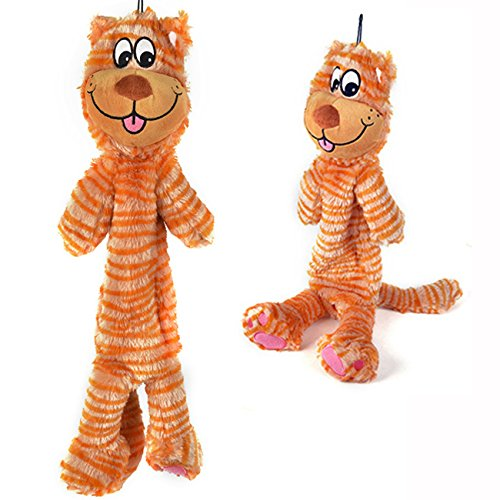 LOOBANI Plush Dog Squeaky Toys Chewer 22 NO Stuffing Durable Large Pets Aggressive Chewers (Lion)