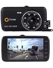 Proze Dash Cam 4.0 Telecamera per Auto Doppia Lente Frontale e Posteriore FHD