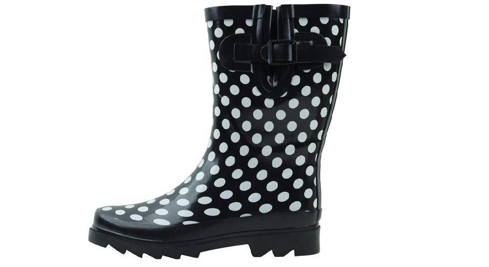 Sunville New Women's Mid-Calf Polka Dot Rubber Rain Boots Size 6