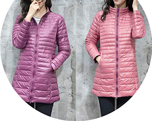 Womens Down Jackets Ultralight White Duck Down Jacket Long Duck Down Coats Women,Qian Zi Fen Se,XXL