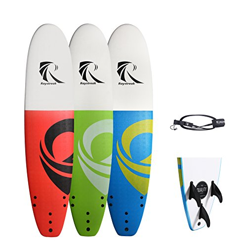 RAYSTREAK 82 Soft top Surfboard with Blue Green Red Options| 8ft 2 inches Soft Surf Board Longboard | Crocskin Non-Slip Deck Foam Surfboard| Performance ...