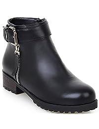 KingRover Women's Platform Zipper Strap Buckle Ankle Boots