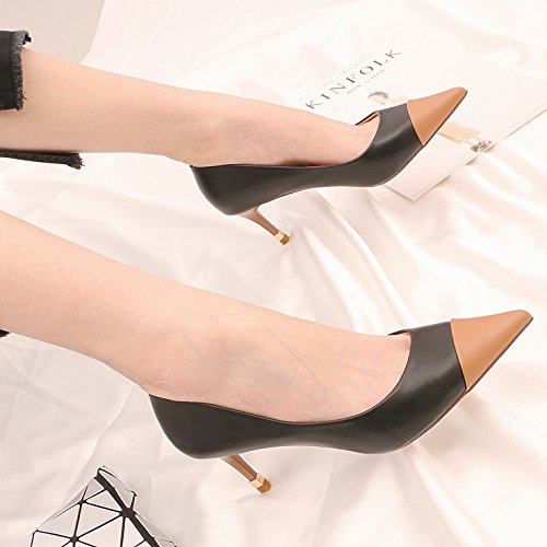 Black 5Cm Girl Collar And Light Heeled Fine Is 6 Single Work White High KPHY Tip Shoes Shoes Spring Versatile With Black OqRBB