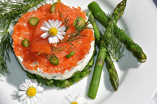Quality Prints - Laminated 35x24 Vibrant Durable Photo Poster - Asparagus Green Starter Asparagus Salad Salmon Cream Cheese Dill Delicious Meal Fish Delicacy Food Nutrition