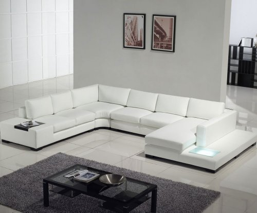 T35 - White Bonded Leather Sectional Sofa Set with Light
