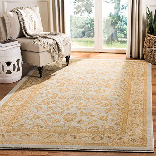 - Safavieh Austin Collection Traditional Oriental Light Blue and Gold Area Rug (4' x 5' 7