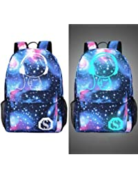 Men's Backpack Anime Starry sky Luminous Printing Teenagers Casual Mochila Men Women's Student Cartoon School Bags (M8)