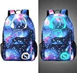 Senkey style Men's Backpack Anime Starry sky Luminous Printing Teenagers Casual Mochila Men Women's Student Cartoon School Bags (M8)