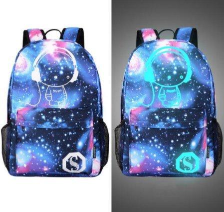 Senkey style Men's Backpack Anime Starry sky Luminous Printing Teenagers Casual Mochila Men Women's Student Cartoon School Bags (M8)