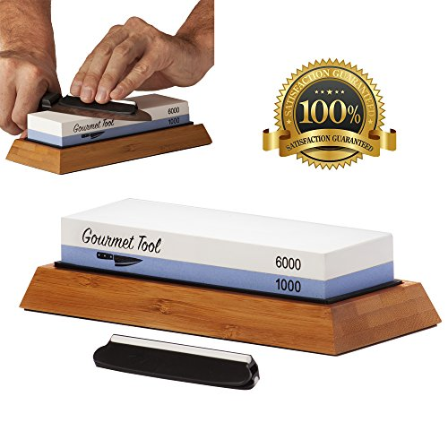 Professional Knife Sharpening Stone -Two Grit 1000/6000 Whetstone - Kitchen & Chef Knife & Tools Shaping System - Japanese Blade Sharpener Set- Non-Slip Bamboo Base, Safety Angle Guide and PDF