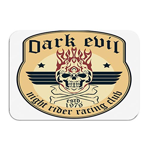 - zengjiansm Outside Shoe Non-Slip Color Dot Doormat Motorcycle Rider Flame Skull Bones Grunge Racer Emblem Biker Vintage Apparel Print Mats Entrance Rugs Carpet 16 24 inch