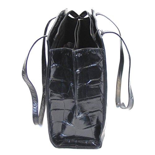 Pavini Damen Tasche Shopper Croco Leder schwarz 9261 Reißverschluss Handyfach
