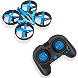 RCtown ELF Mini Drone for Kids, 2.4Ghz 6-Axis Gyro Headless Mode LED Lights Remote Control RC Quadcopter - Blue