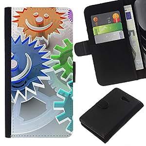 KLONGSHOP // Tirón de la caja Cartera de cuero con ranuras para tarjetas - Resumen Smiley - Sony Xperia M2 //