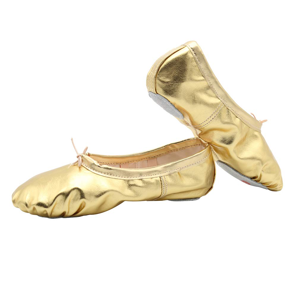 Women's Bright PU Leather Ballet Belly Slippers Ballroom Dance Shoes with Suede Split-Sole(8, Gold)