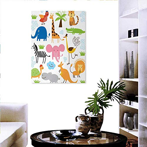 as Print Wall Art Cute Set of Giraffe Elephant Zebra Turtle Kids Nursery Baby Themed Cartoon Comic Print Wall Sticker 16