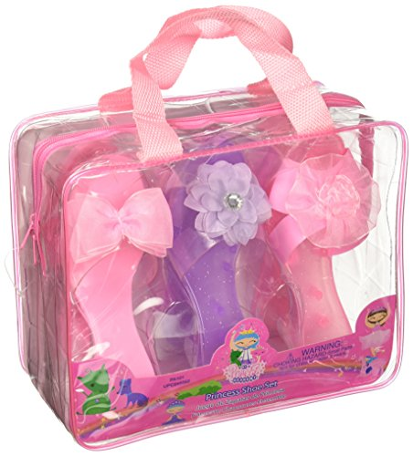 My Princess Academy Fancy Flower and Ribbon Shoe Collection with Carry Bag, (3 Pairs)