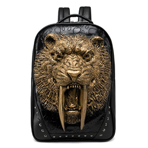 Bolsa De Hombro Para Hombres Big Backpack 3D Shape Swordsmanship Rivet Cool Gold