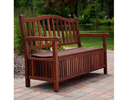 4-ft. Outdoor Wooden Curved Back Bench with Storage by Richmond