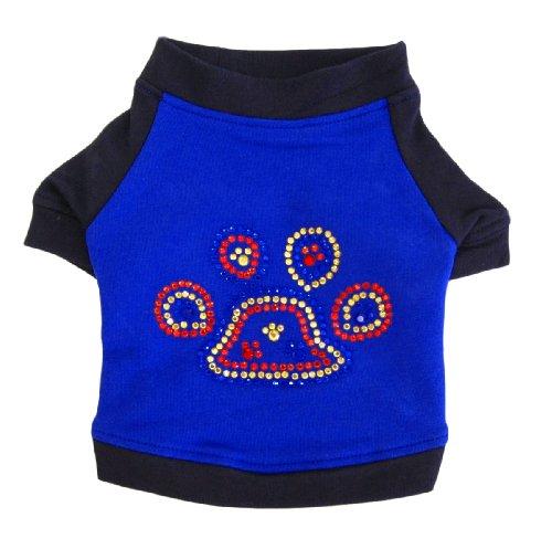 Blue and Black Dog Tshirt with Rhinestone Paw, My Pet Supplies