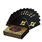 Waterproof Poker Cards Black PVC Playing Cards Set Professional Poker Bronzing Poker Deck
