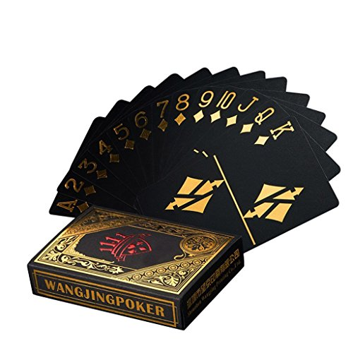 Poker Playing Cards Set - Waterproof Poker Cards Black PVC Playing Cards Set Professional Poker Bronzing Poker Deck Top Quality Plastic Poker For Your Poker Pleasure (Gold)