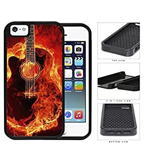 Acoustic Guitar Burning With Fire Flames 2-Piece Dual Layer High Impact Rubber Silicone Cell Phone Case Apple iPhone 5 5s