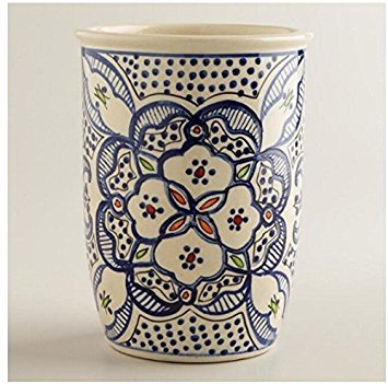 Utensil Holder Utensil Crock Utensil Organizer Caddy Ceramic Large STURDY Hand Crafted and Hand Painted Blue and white North African Design. ()