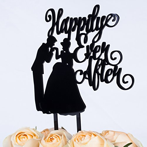 LOVENJOY with Gift Box Happily Ever After Monogram Groom Kiss Bride Silhouette Wedding Cake Topper (5.5-inch, Black)
